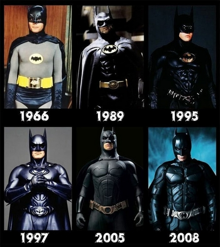 """Sacrée évolution de l'image du personnage ... Du """"Nanana ... BATMAN !"""" (1966) à une sobriété efficace (2008)."""