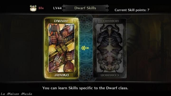 """En vous rendant à la Guilde, cliquer sur """"Learn Skills"""" vous donne la possibilité de dépenser vos points d'aptitude dans 2 catégories : à gauche, les capacités propres à votre profil tandis qu'à droite ces aptitudes restent accessibles à quiconque."""