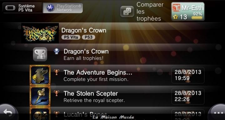 Trophées PS Vita PS3 Dragon's Crown