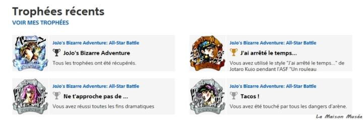 Astuces Trophees Jojo s Bizarre All Star Battle