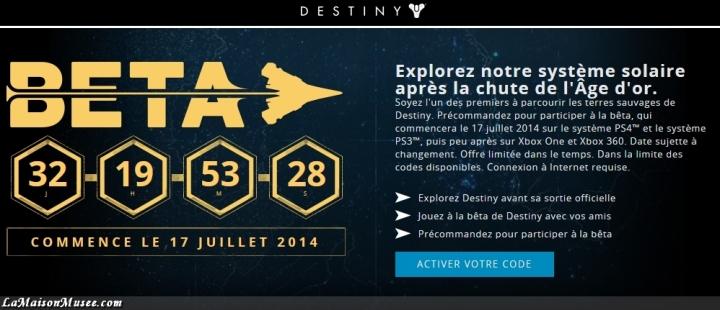 Clef Acces Beta Destiny