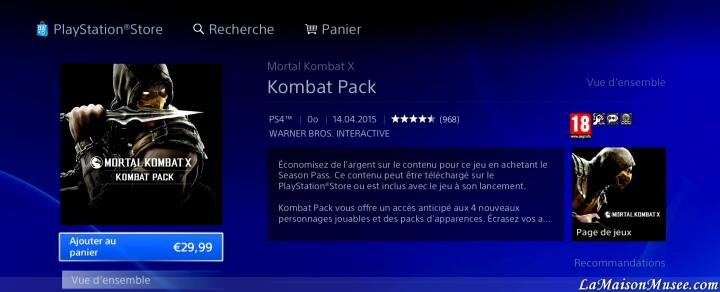 Contenu DLC Kombat Pack