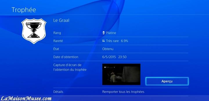 Graal PlayStation 4 Trophee Blog
