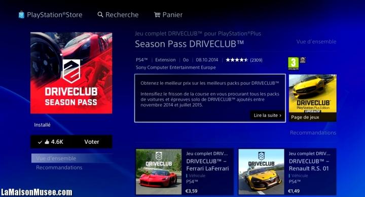 Season Pass 2014 2015 DriveClub