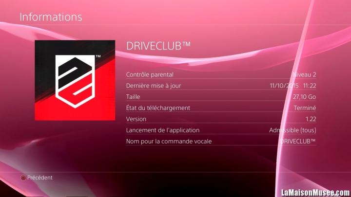 Mémoire DriveClub PSN Plus
